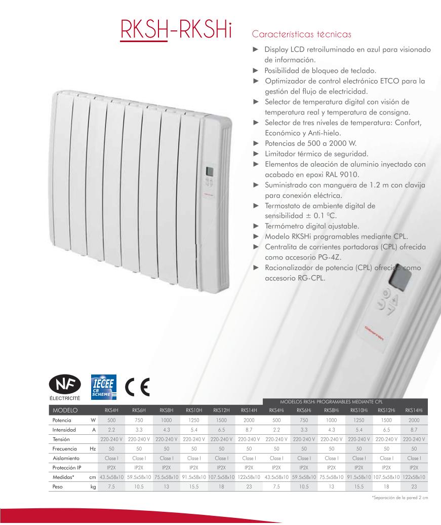 Radiador electrico de bajo consumo elnur gabarron rksh - Consumo emisores termicos ...