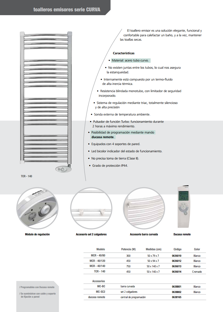 450 w mcr 40 120 toallero el ctricos de bajo consumo ducasa for Toallero electrico bajo consumo